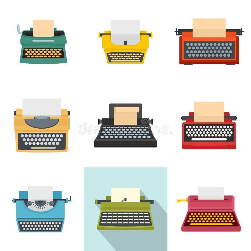 Icone di chiavi a macchina della macchina da scrivere le vecchie hanno messo, stile piano royalty illustrazione gratis