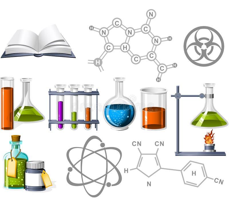 Icone di chimica e di scienza royalty illustrazione gratis