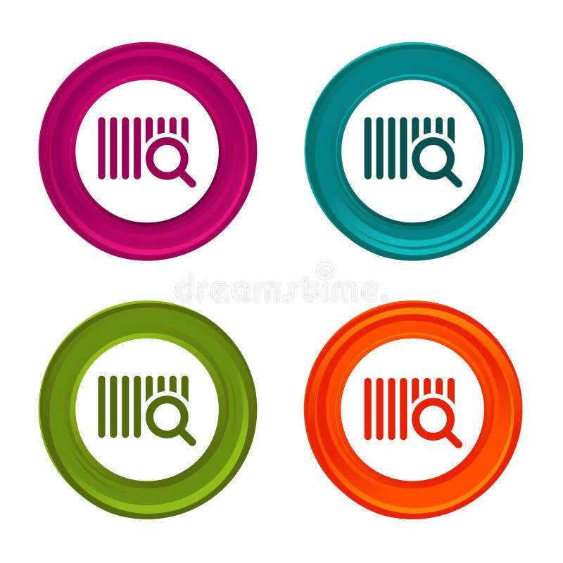 Icone di codice di ricerca segni di commercio elettronico Simbolo di acquisto Bottone variopinto di web con l'icona illustrazione di stock