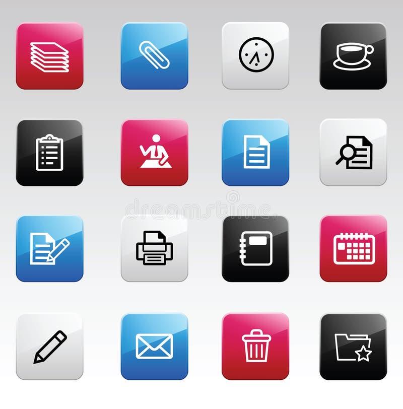 Icone di colore dell'ufficio illustrazione di stock