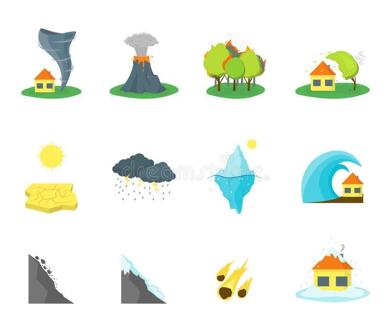 Icone di colore di disastro naturale del fumetto messe Vettore illustrazione vettoriale