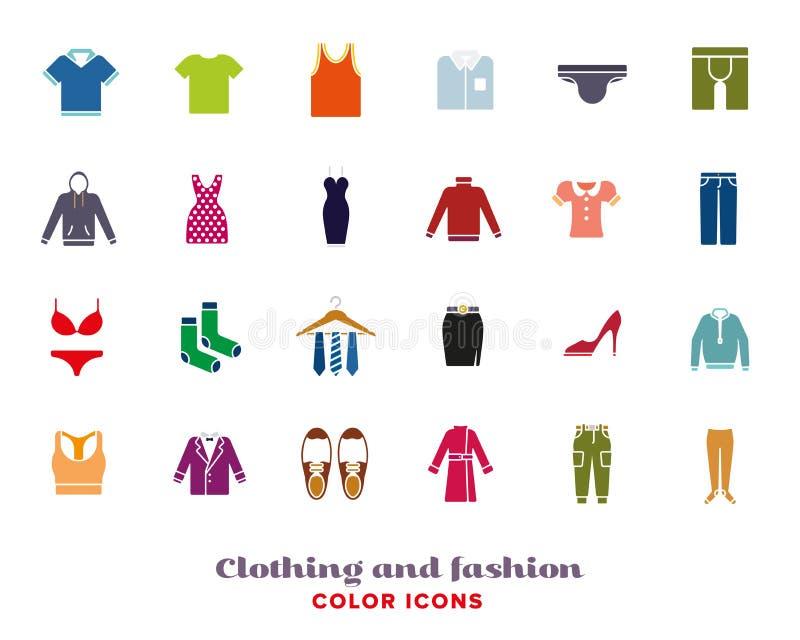 Icone di colore di modo e dell'abbigliamento messe royalty illustrazione gratis