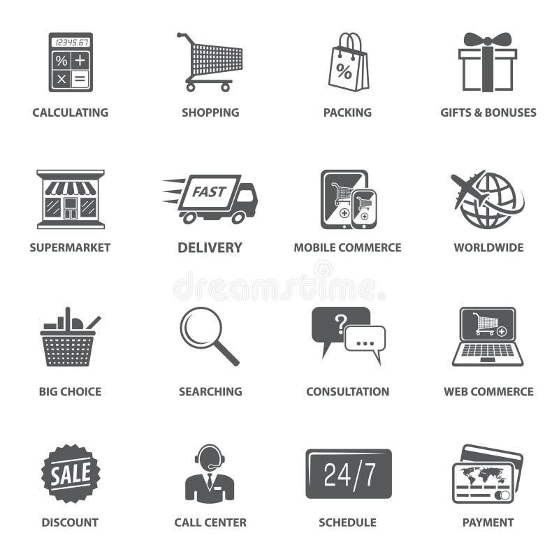 Icone di commercio elettronico di acquisto illustrazione vettoriale