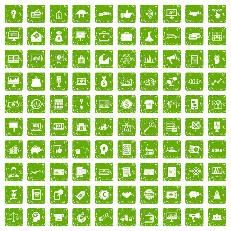 100 icone di commercio elettronico hanno fissato il verde di lerciume royalty illustrazione gratis
