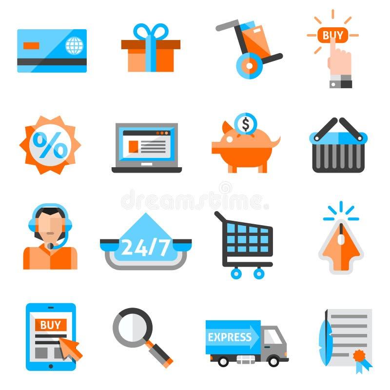 Icone di commercio elettronico messe illustrazione vettoriale