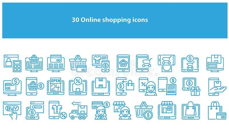 Icone di compera online blu-chiaro di vettore - vettore illustrazione vettoriale