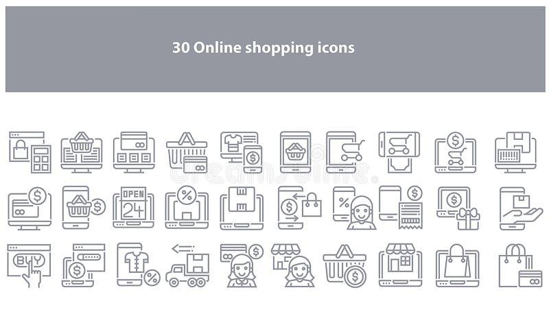 Icone di compera online grige di vettore - vettore illustrazione vettoriale