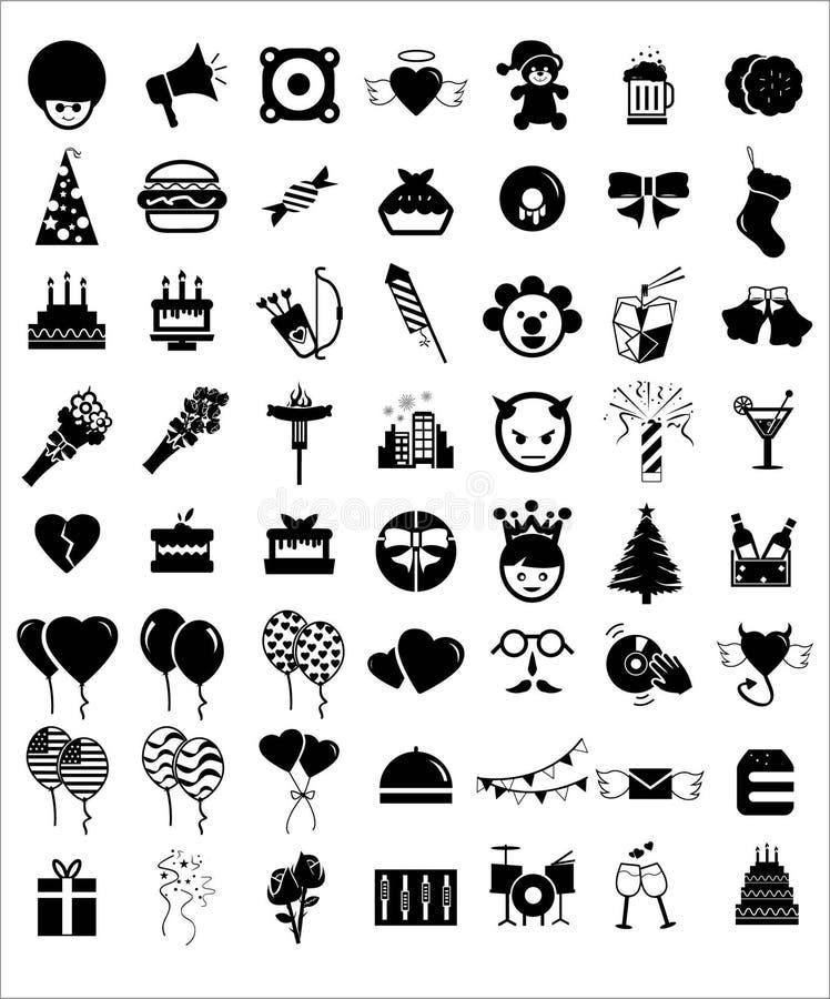 Icone di compleanno del partito di celebrazione illustrazione di stock