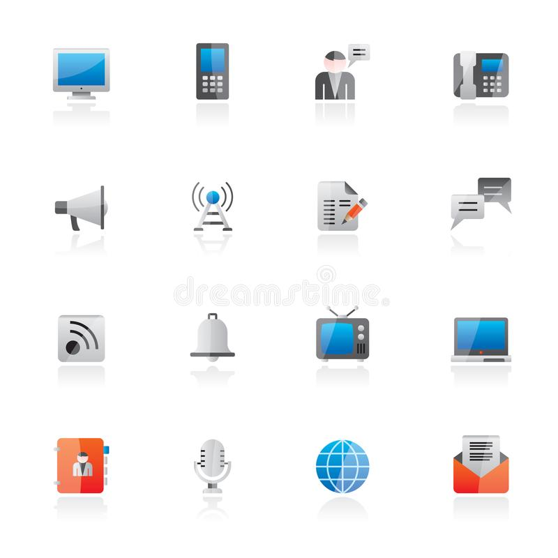 Icone di comunicazione, del collegamento e di tecnologia illustrazione di stock