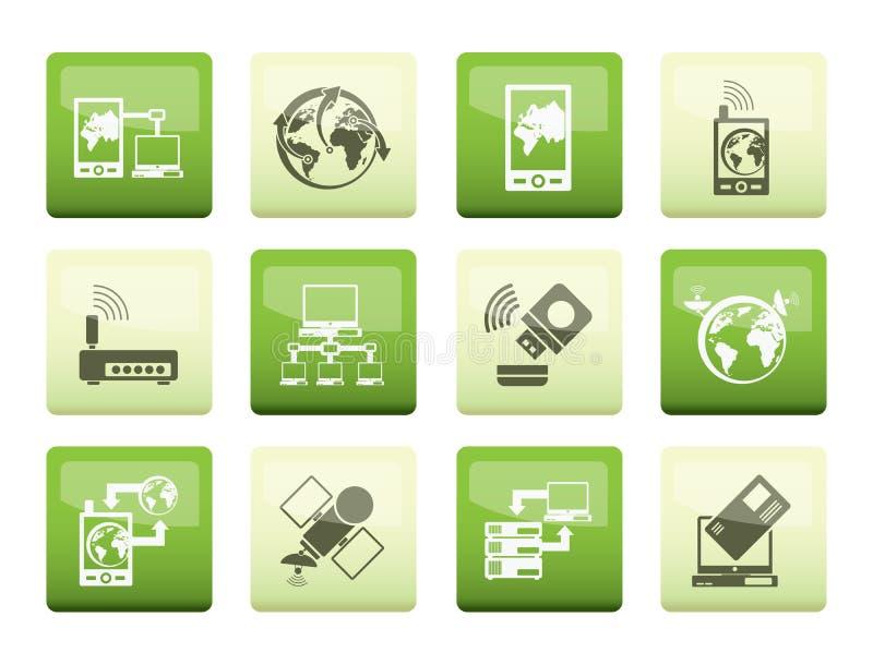icone di comunicazione, del computer e del telefono cellulare sopra il fondo di colore illustrazione di stock