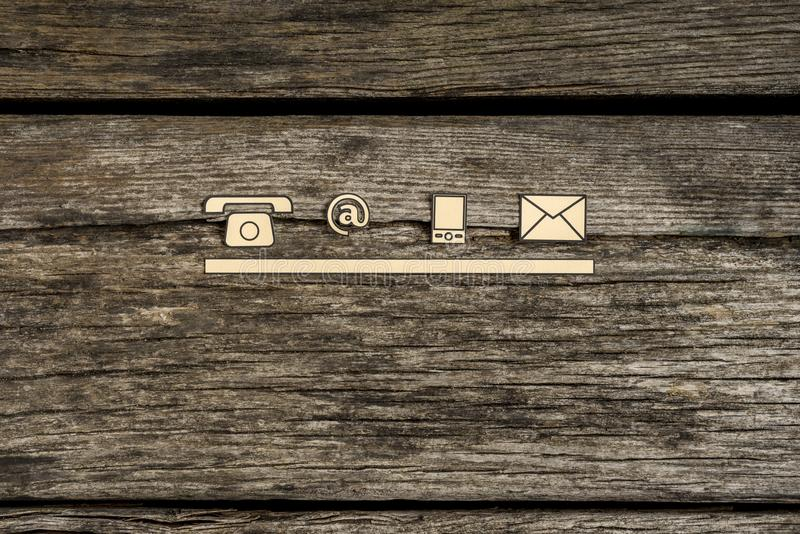 Icone di comunicazione e del contatto fotografia stock libera da diritti
