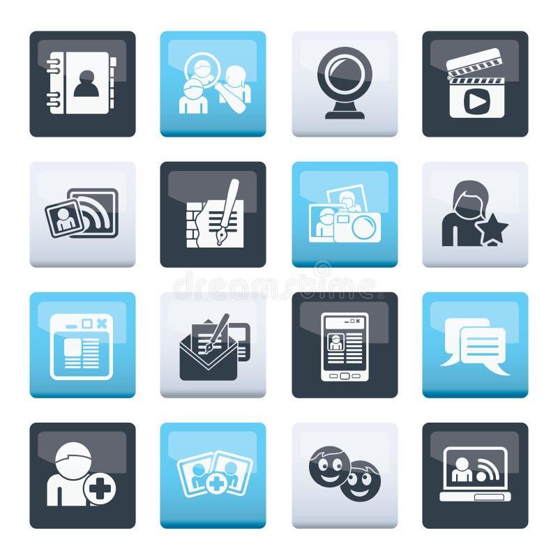 Icone di comunicazione e della rete sociale sopra il fondo di colore illustrazione di stock