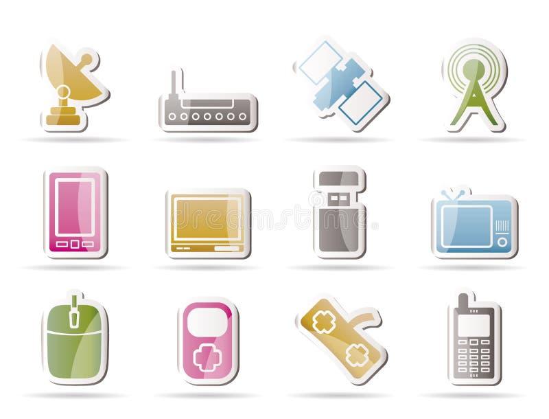 Icone di comunicazioni e di tecnologia illustrazione vettoriale