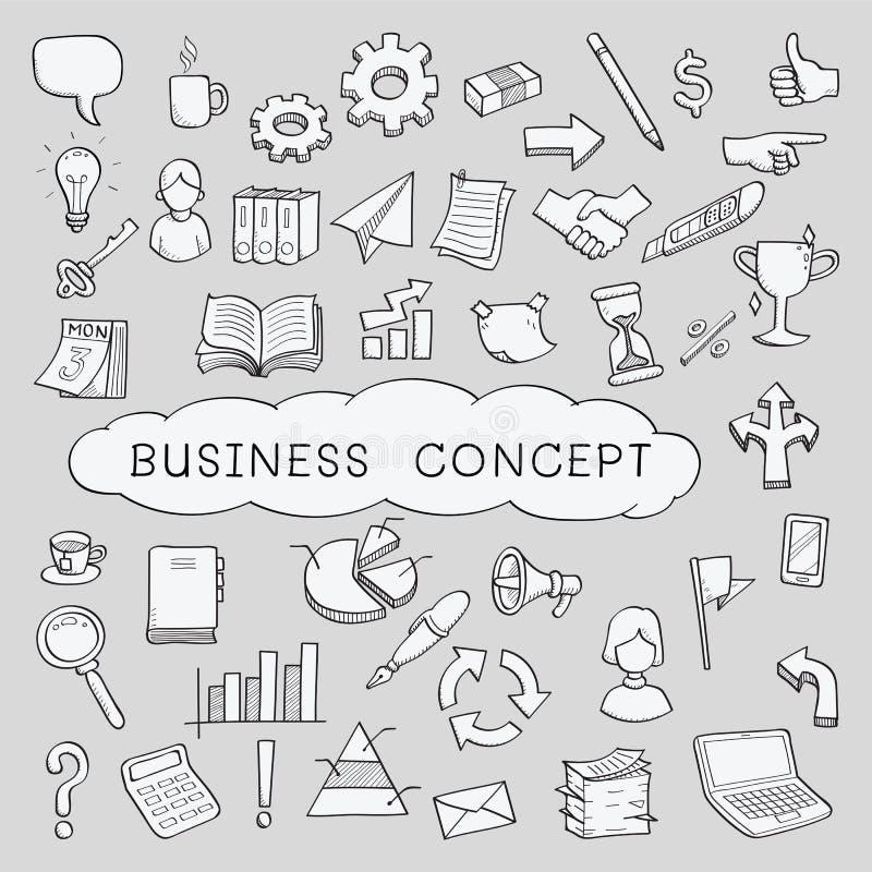 Icone di concetto di affari di scarabocchio illustrazione vettoriale