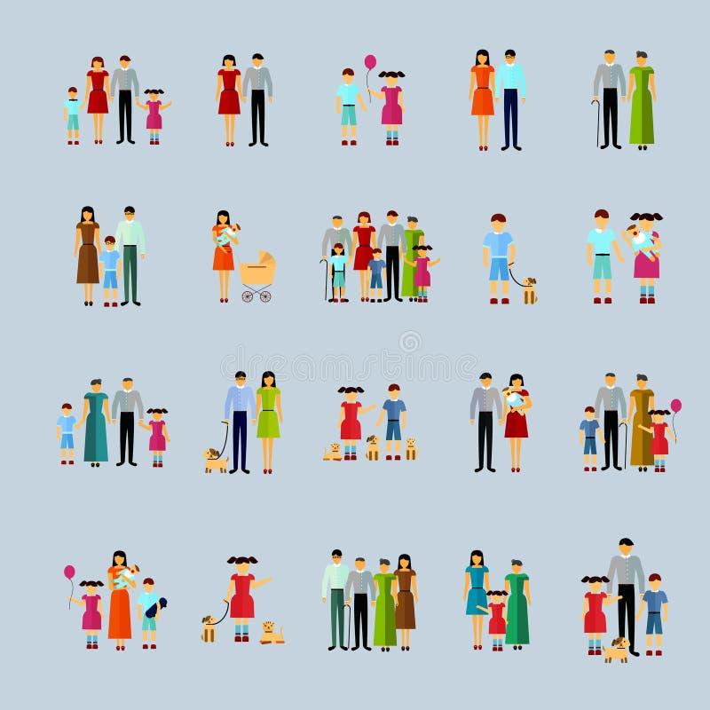 Icone di concetto 'nucleo familiare' messe royalty illustrazione gratis