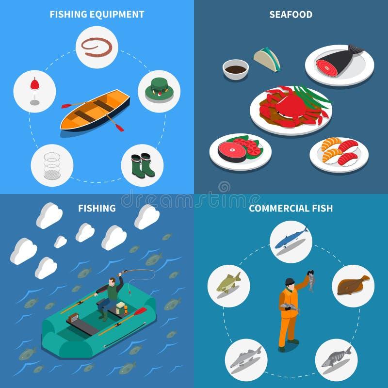 Icone di concetto di pesca messe illustrazione di stock