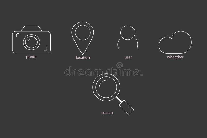 Icone di contorno illustrazione vettoriale