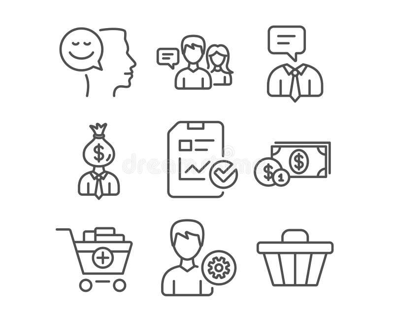 Icone di conversazione di servizio di sostegno, del responsabile e della gente Il buoni umore, lista di controllo di rapporto e d illustrazione di stock