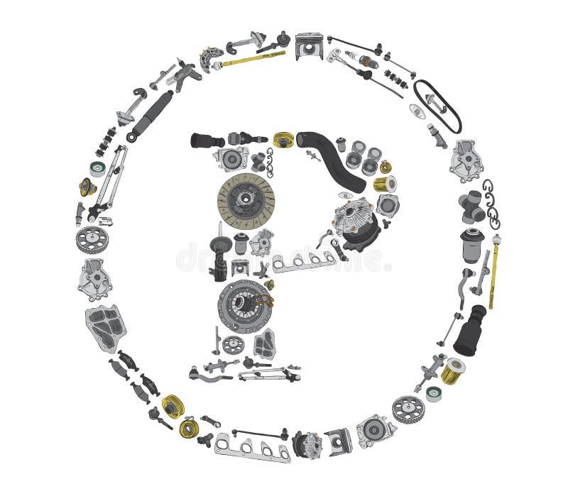 Icone di Copyright con i ricambi auto per l'automobile illustrazione vettoriale