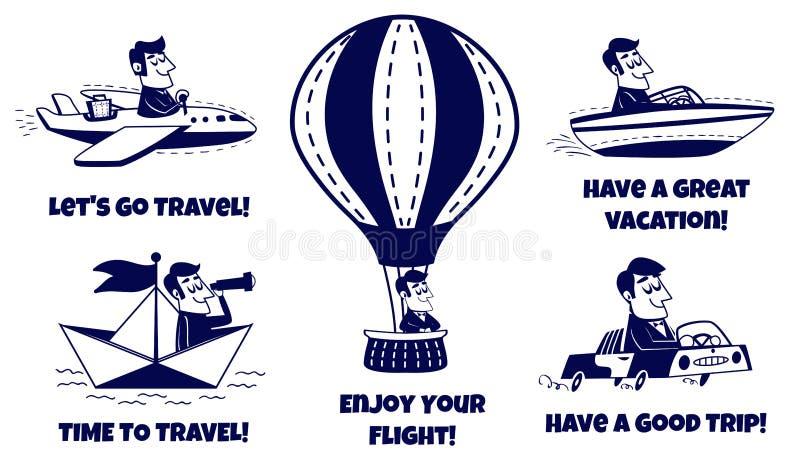 Icone di corsa impostate Uomo felice che viaggia in macchina, aeroplano, barca, barca di carta, mongolfiera royalty illustrazione gratis