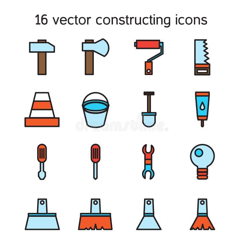 Icone di costruzione e di costruzione messe illustrazione for Costruttore di piani di costruzione