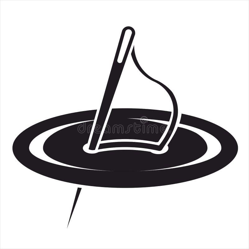 Icone di cucito dell'ago del whith del bottone nere e wite fotografie stock
