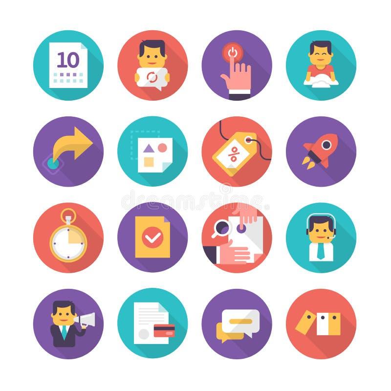 Icone di cura e di commercio del cliente illustrazione vettoriale