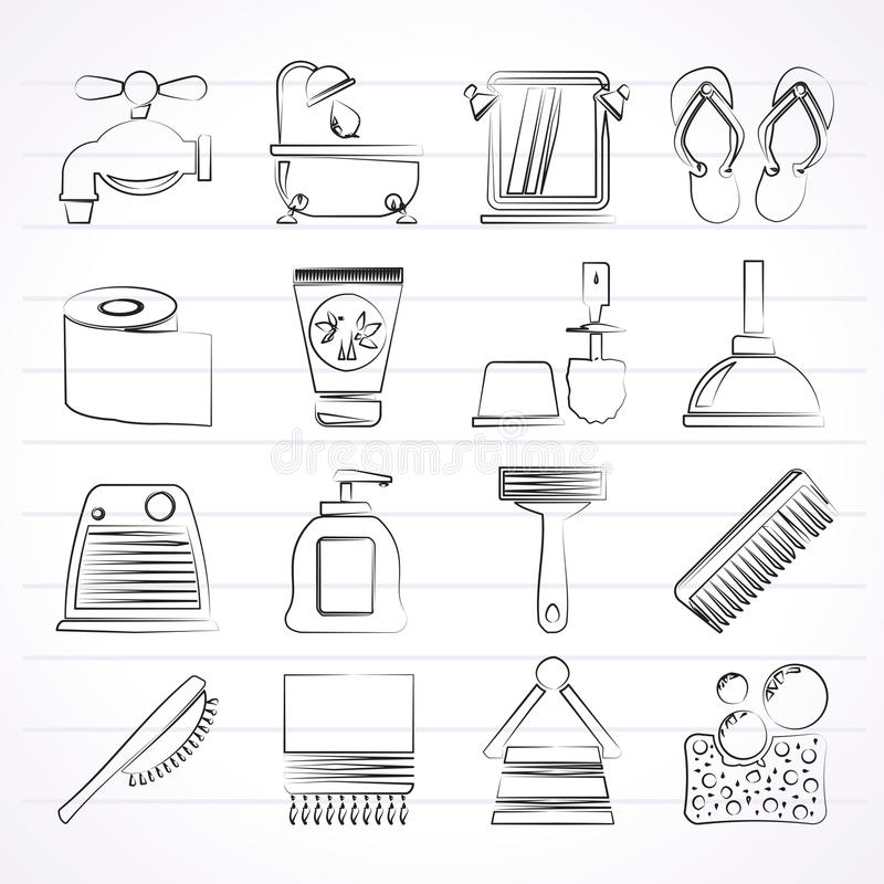 Icone di cura personale e del bagno illustrazione vettoriale