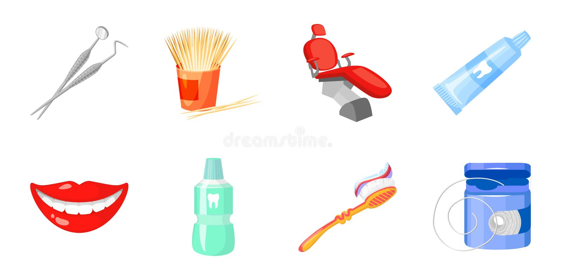 Icone di cure odontoiatriche nella raccolta dell'insieme per progettazione La cura dei denti vector l'illustrazione di riserva di illustrazione vettoriale