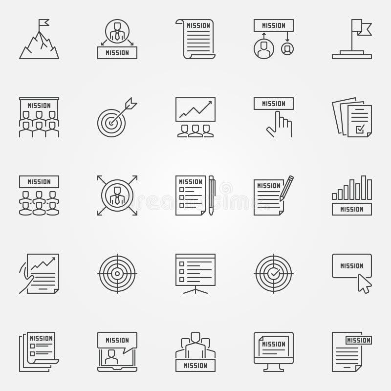Icone di dichiarazione di missione messe - segni del profilo di affari di vettore illustrazione di stock