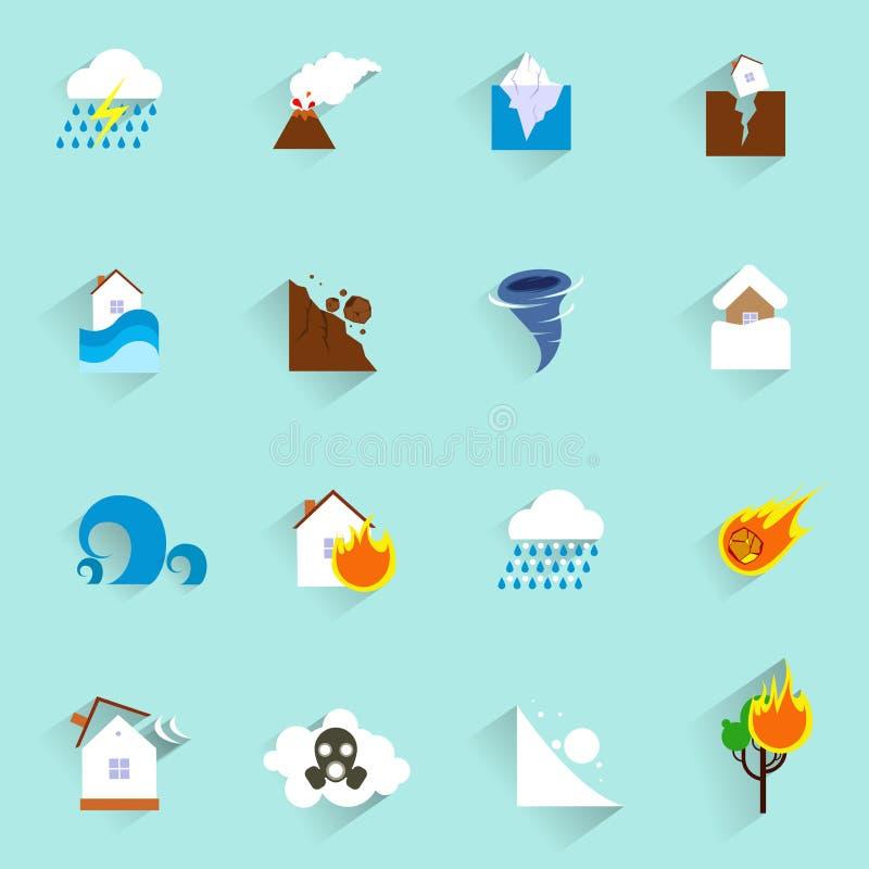 Icone di disastro naturale piane illustrazione vettoriale
