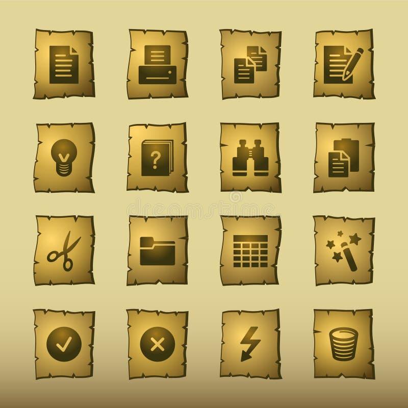 Icone di documento del papiro illustrazione di stock