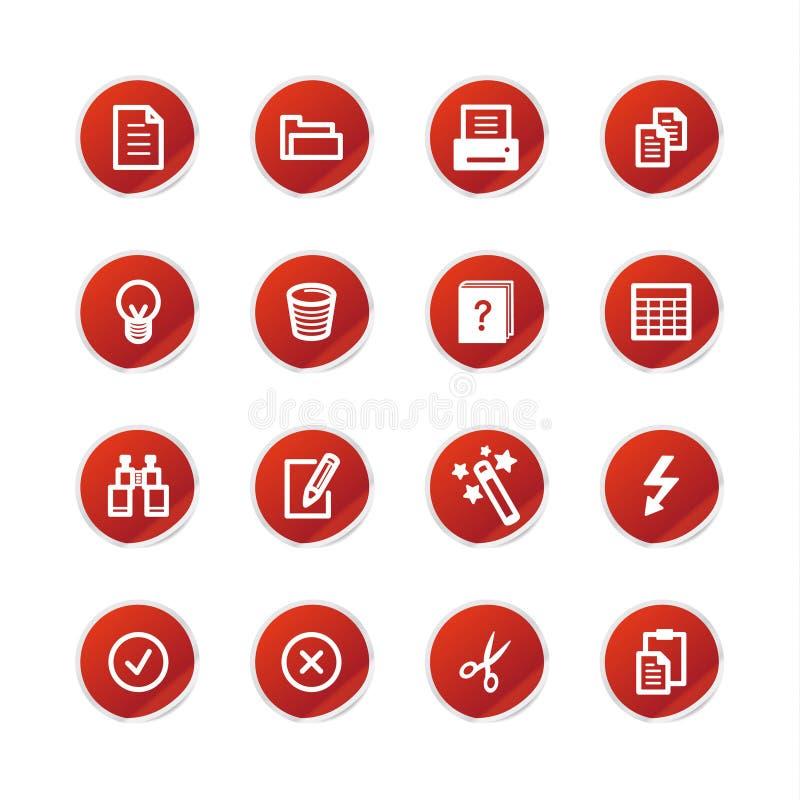 Icone di documento rosse dell'autoadesivo illustrazione vettoriale