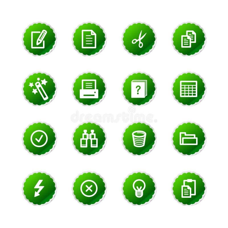 Icone di documento verdi dell'autoadesivo illustrazione vettoriale