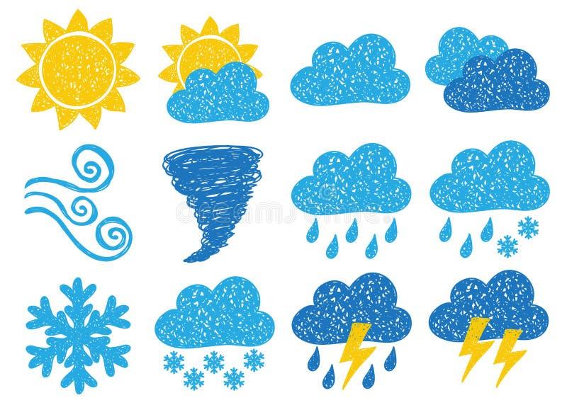Icone di doodle del tempo illustrazione vettoriale