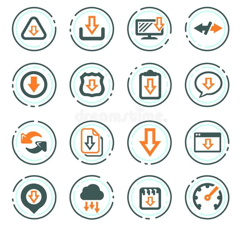 Icone di download messe illustrazione vettoriale