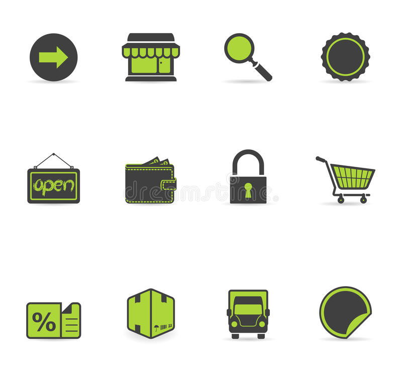 Icone di Duotone - più commercio elettronico illustrazione vettoriale