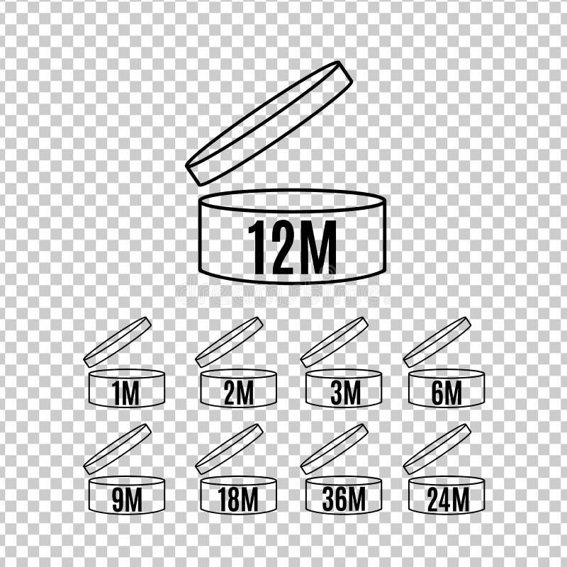 Icone di durata di prodotto in magazzino messe illustrazione di stock