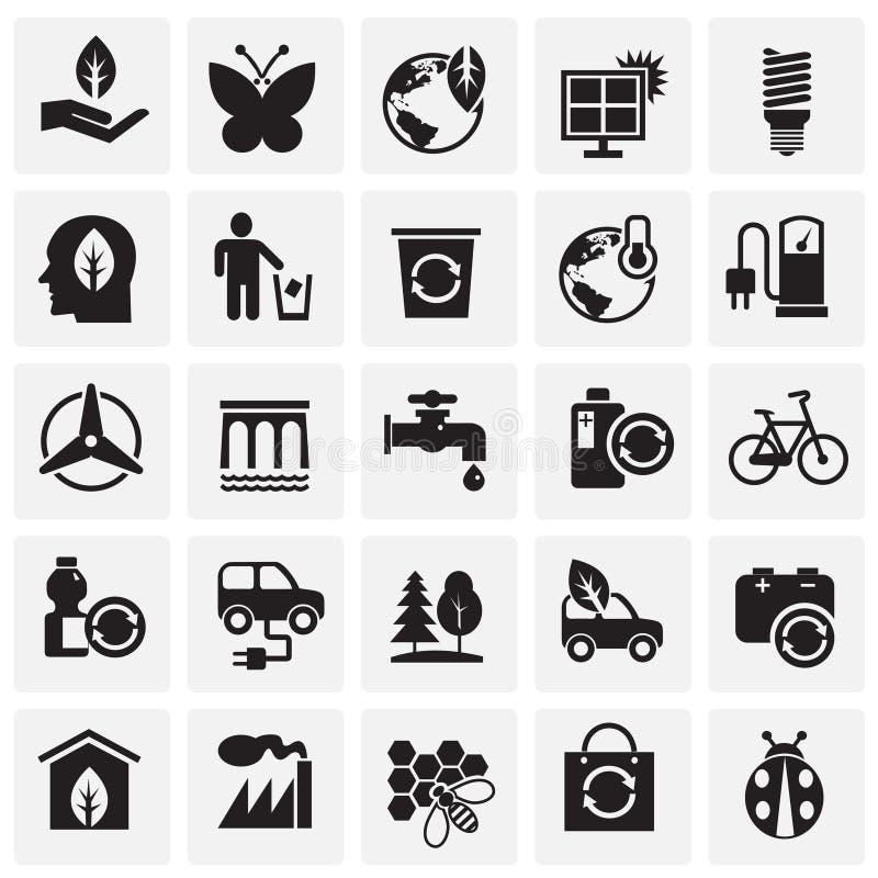 Icone di ecologia sul fondo dei quadrati per il grafico ed il web design, segno semplice moderno di vettore Concetto del Internet illustrazione vettoriale