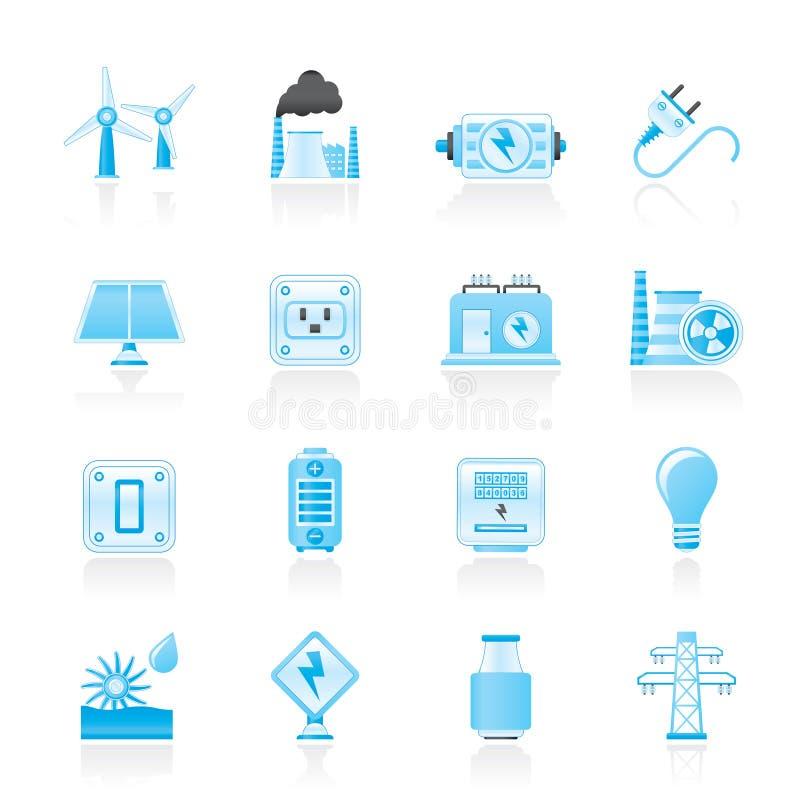 Icone di elettricità, di potenza e di energia illustrazione vettoriale