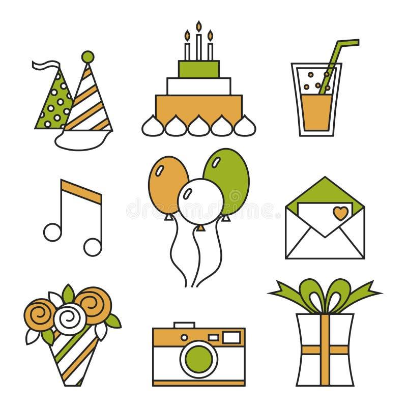 Icone di festa, buon compleanno, insieme Dolce, palloni, fiori, regalo ed altri elementi festivi di progettazione illustrazione vettoriale
