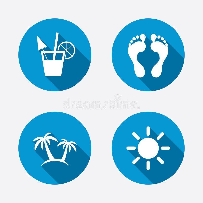 Icone di feste della spiaggia Cocktail, orme umane illustrazione vettoriale