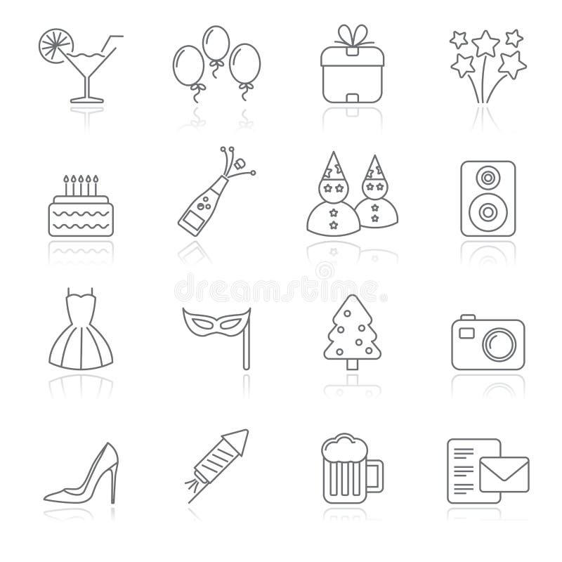 Icone di feste e del partito illustrazione vettoriale