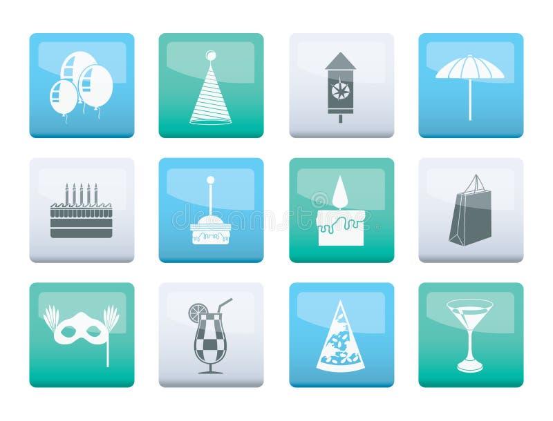 Icone di feste e del partito sopra il fondo di colore illustrazione di stock