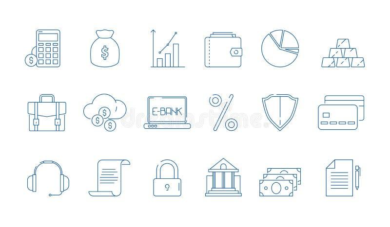 Icone di finanza di affari Linea finanziaria simboli di vettore della banca di economia globale di legge di attività bancarie iso royalty illustrazione gratis