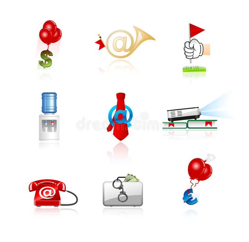 Icone di finanze e dell'ufficio impostate fotografia stock libera da diritti