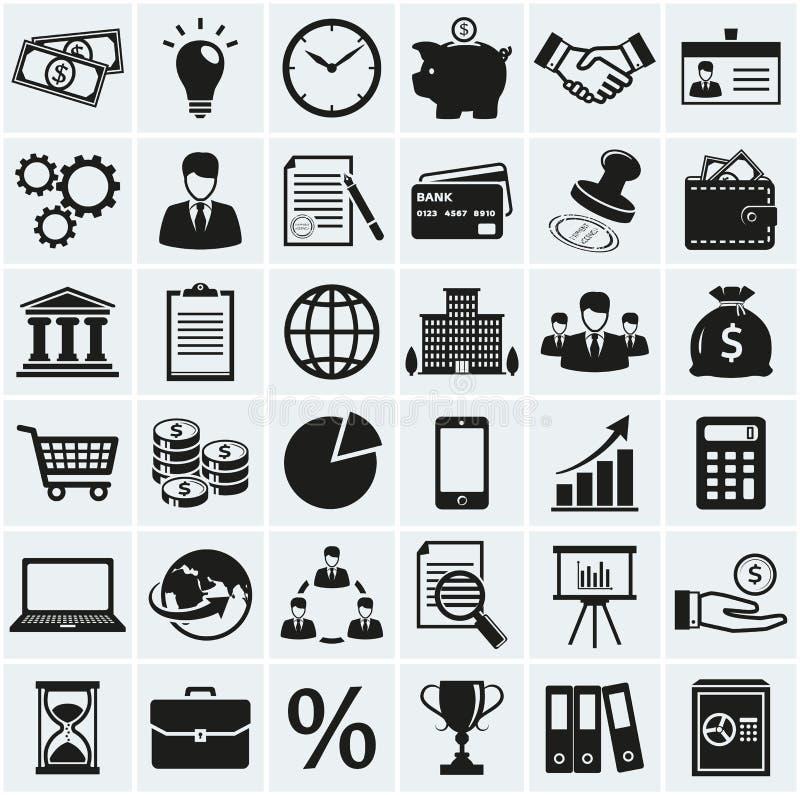 Icone di finanze e di affari Insieme di vettore illustrazione di stock