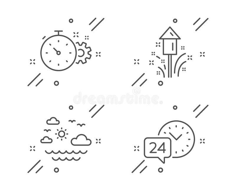 Icone di Fireworks, Cogwheel timer e Travel Sea 24 ore di servizio Vettore illustrazione di stock