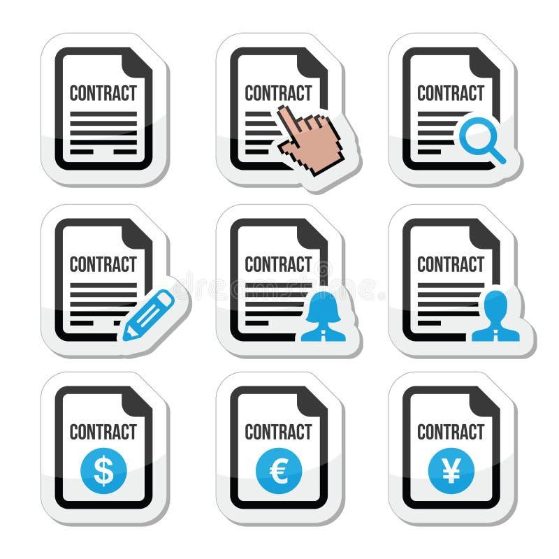 Icone di firma del contratto di lavoro o di affari messe illustrazione di stock
