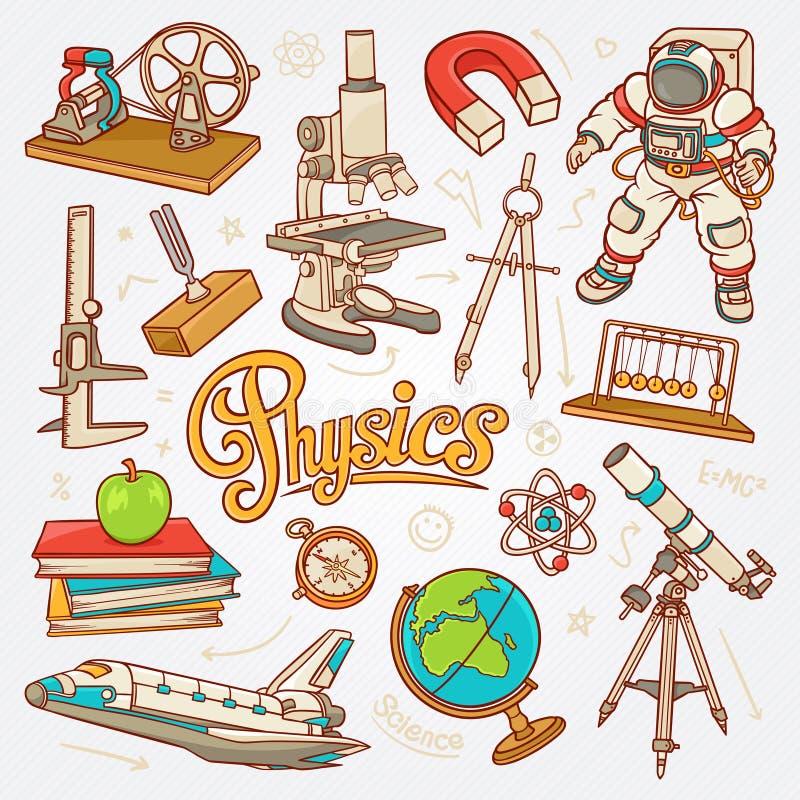 Icone di fisica nell'illustrazione di schizzo di concetto di scienza illustrazione di stock